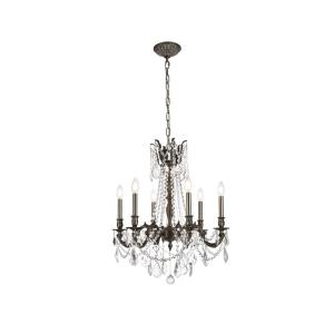 Timeless Home 23 in. L x 23 in. W x 26 in. H 6-Light Pewter Traditional Chandelier with Clear Crystal