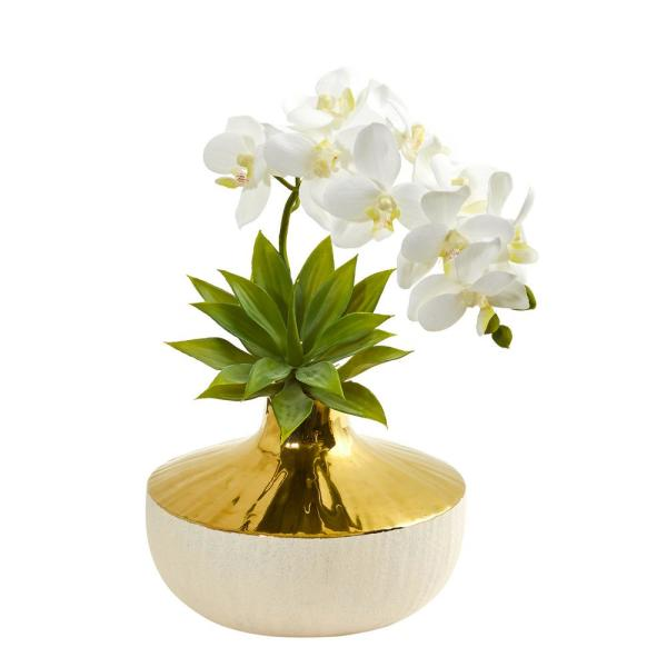 Nearly Natural Phalaenopsis Orchid and Agave Artificial Arrangement in Vase