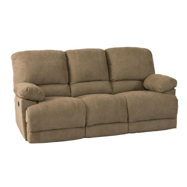 CorLiving Lea Brown Chenille Fabric Power Reclining Sofa with USB ...