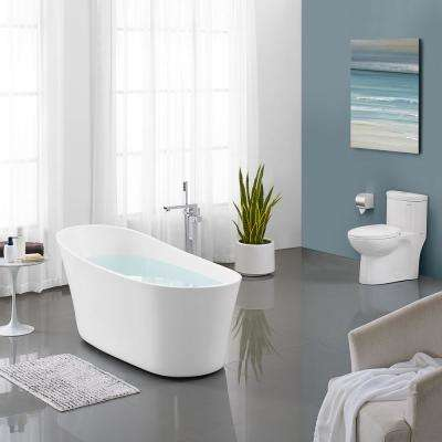 Sublime 67 in. Acrylic Single Slipper Flat Bottom Non-Whirlpool Freestanding Oval Soaking Bathtub in White