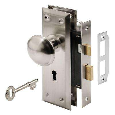 Mortise Lock Set with Keyed Nickel Plated Knobs