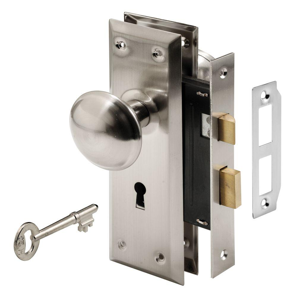 Prime Line Mortise Lock Set With Keyed Nickel Plated Knobs E 2330 The Home Depot