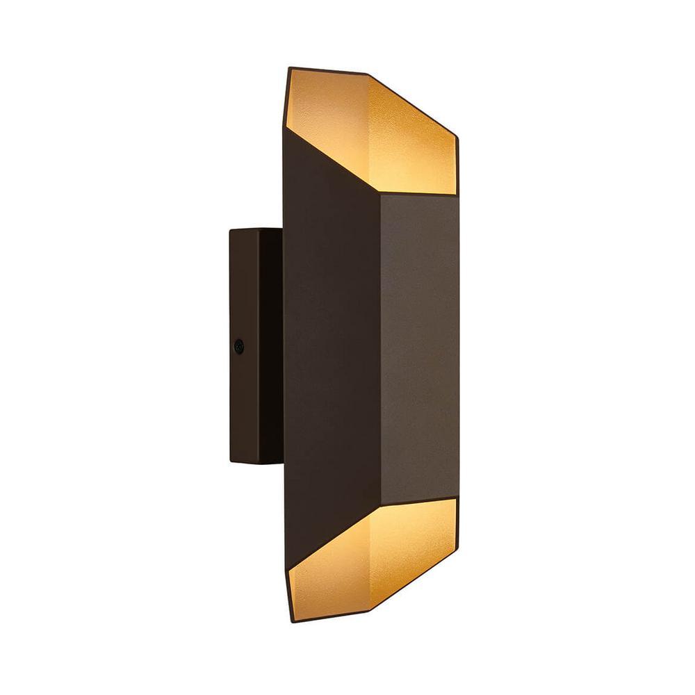 Medium Hexa Bronze Outdoor Integrated LED Wall Mount Lantern