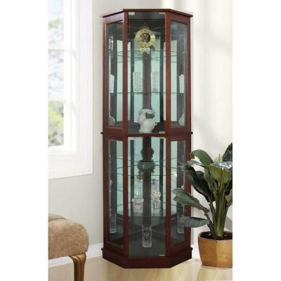 5 Sided Lighted Corner Curio Cabinet