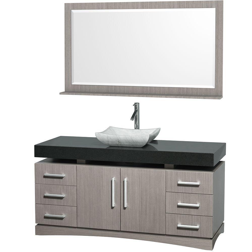 Wyndham Collection Monterey 60 in. Vanity in Grey Oak with Granite Vanity Top in Black and Carrara Marble Sink-DISCONTINUED