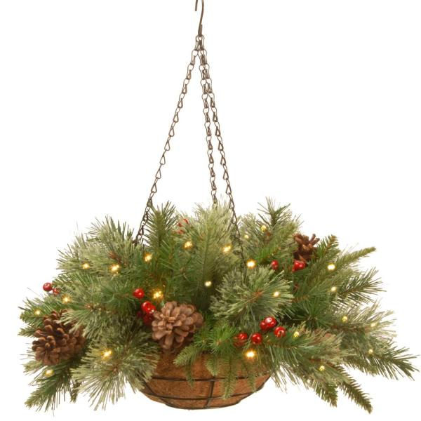 20 in. Colonial Hanging Basket with Battery Operated Warm White LED Lights