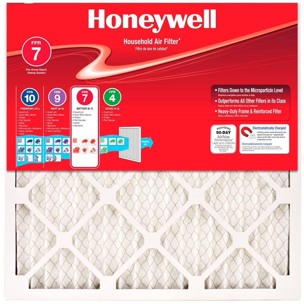 Honeywell 24 in. x 24 in. x 1 in. Allergen Plus Pleated FPR 7 Air Filters (4-Pack)