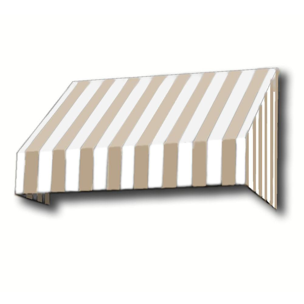 AWNTECH 14 ft. New Yorker Window Awning (44 in. H x 24 in. D) in Linen/White Stripe