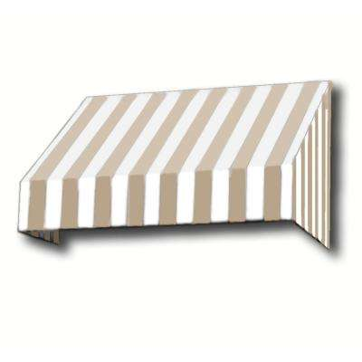 12 ft. New Yorker Window/Entry Awning (56 in. H x 48 in. D) in Linen/White Stripe