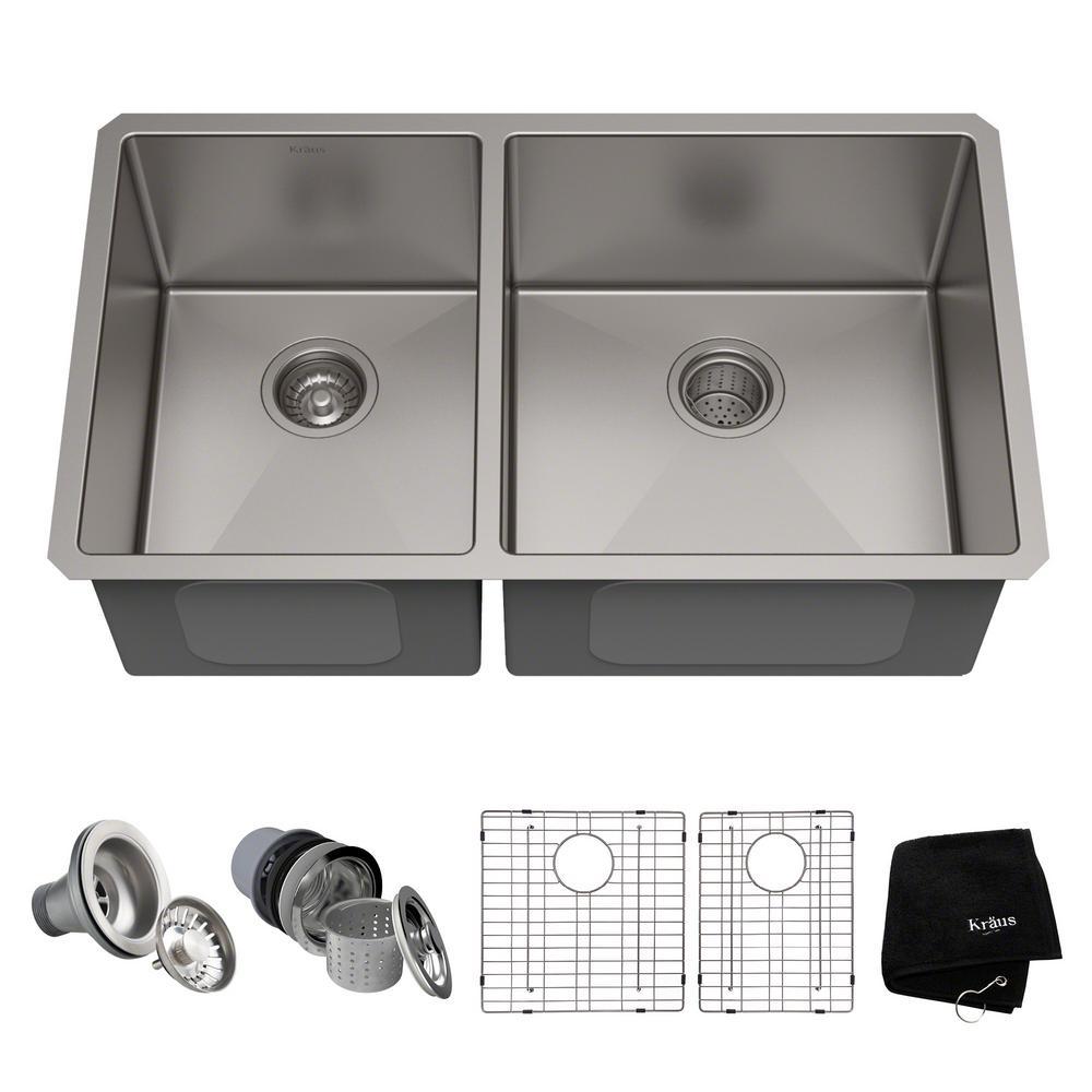 KRAUS Standart PRO 33in. 16 Gauge Undermount 60/40 Double Bowl Stainless Steel Kitchen Sink