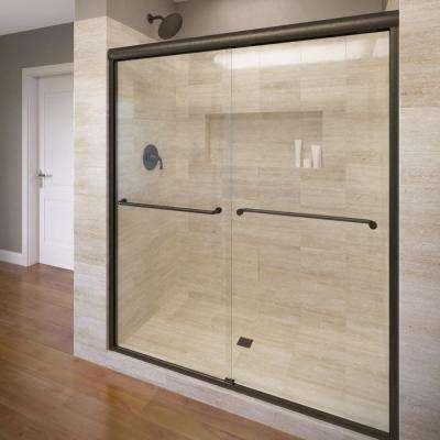 Celesta 60 in. x 71-1/4 in. Semi-Frameless Sliding Shower Door in Oil Rubbed Bronze with AquaGlideXP Clear Glass