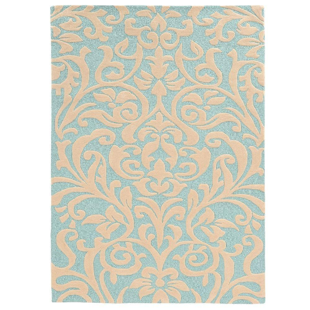 Linon Home Decor Trio Aqua Ivory 5 Ft X 7 Ft Indoor Area