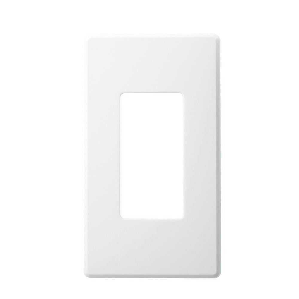 Leviton 1 Gang Narrow Fins Left On Renoir Ii Wall Plate In White