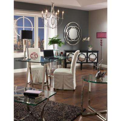 Uptown Polished Nickel Glass Top Side Table
