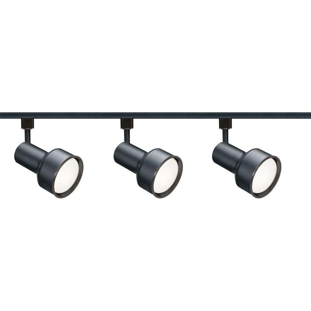 Glomar 3-Light R30 Black Step Cylinder Track Lighting Kit
