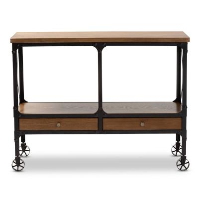 Alves Dark Oak Brown and Dark Bronze Kitchen Island Table