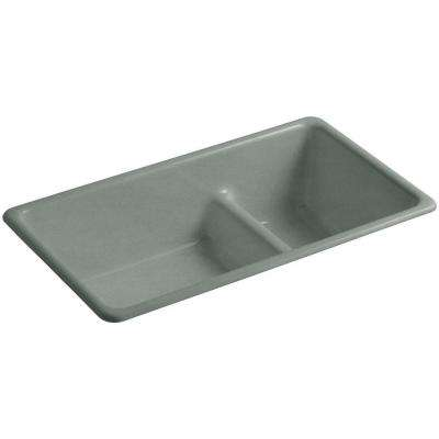 Iron/Tones Smart Divide Drop-In/Undermount Cast-Iron 33 in. Double Bowl Kitchen Sink in Basalt
