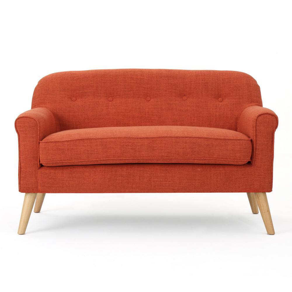 2-Seat Muted Orange Fabric Loveseat