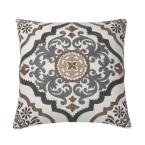 Embroidered Natural Scroll 18 in. x 18 in. Decorative Throw Pillow Cover
