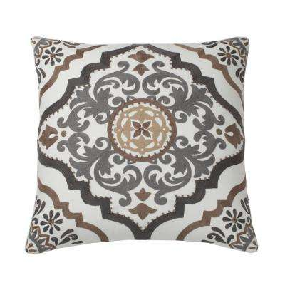 Embroidered Decorative Pillow Cover in Natural Scroll, 18 in. x 18 in.