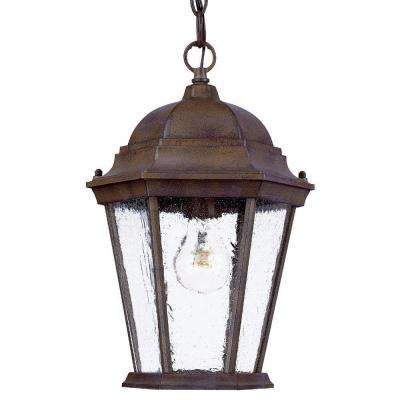 Richmond Collection 1-Light Hanging Outdoor Burled Walnut Lantern