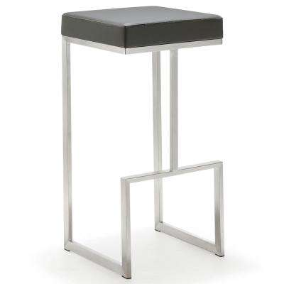 Ferrara 29.5 in. Grey Leather and Silver Steel Barstool (Set of 2)
