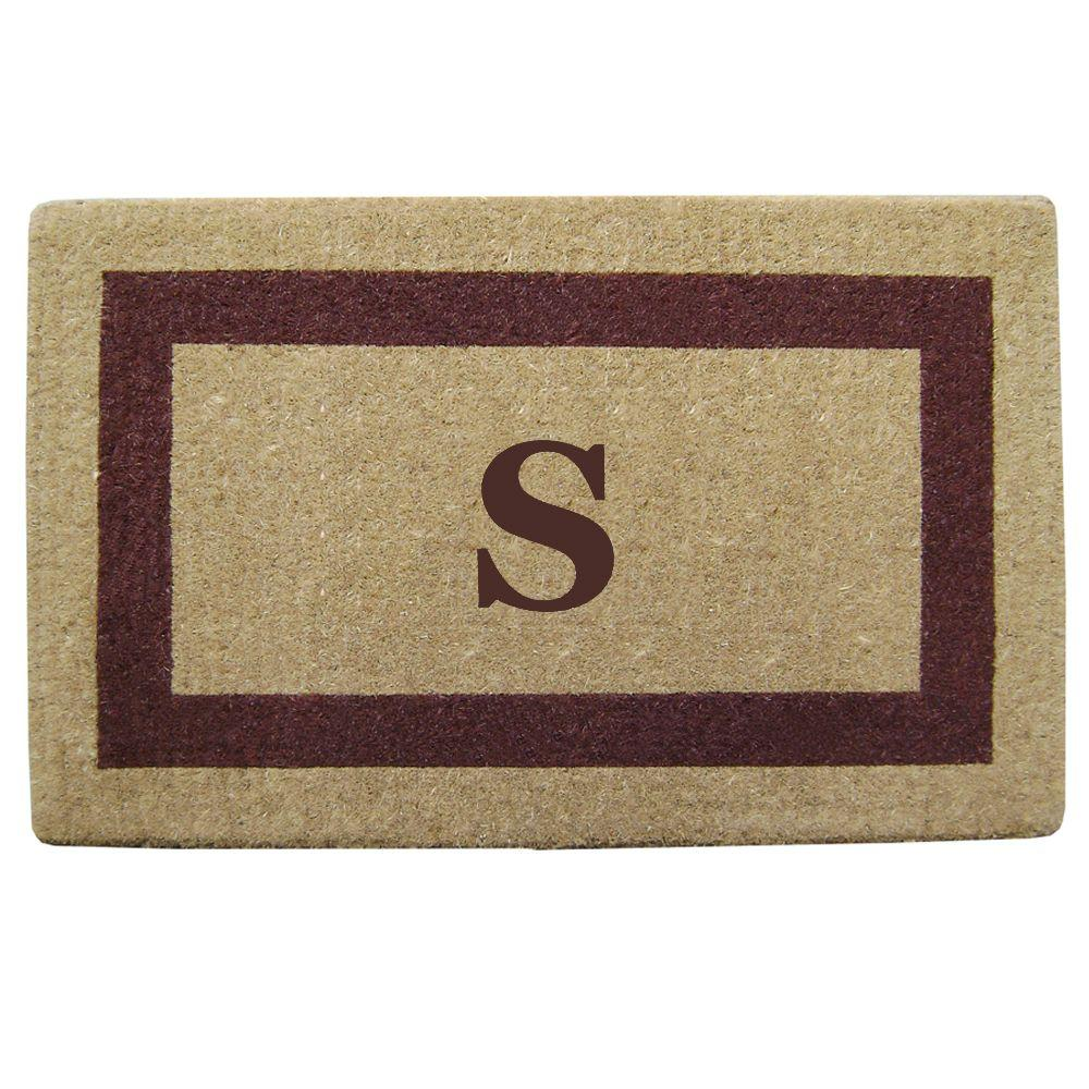 Nedia Home Single Picture Frame Brown 22 in. x 36 in. HeavyDuty Coir Monogrammed S Door Mat