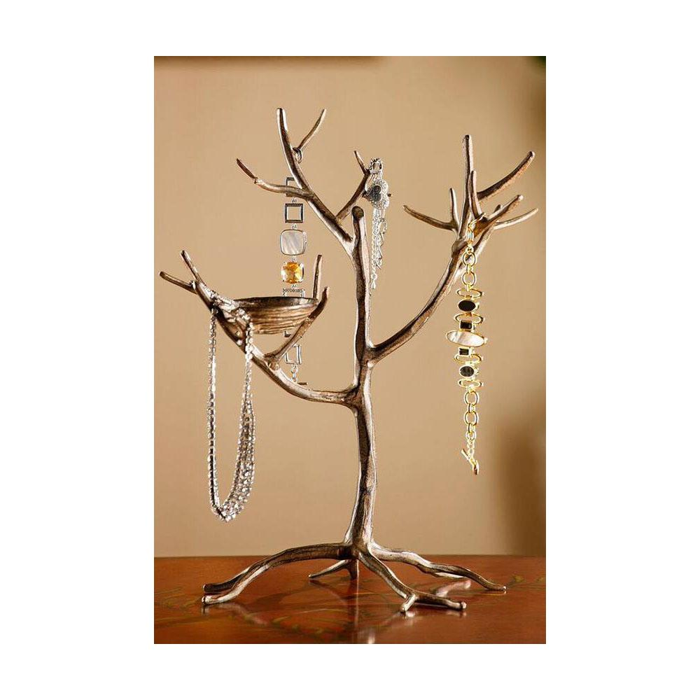 Home Decorators Collection 15 in. Aluminum Jewelry Tree and Nest Stand, Grey Nature has the cleverest jewelry storage and display ideas, and our Jewelry Tree and Nest Stand is one you'll love. This beautifully handcrafted jewelry tree has provides accessible storage. Place this lovely jewelry holder on your dresser or chest and find the perfect accessory for every outfit in a snap. Color: Metallic.