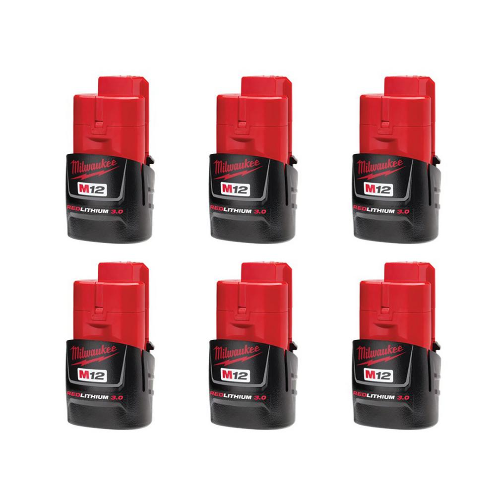 Milwaukee M12 12-Volt Lithium-Ion Compact Battery Pack 3.0Ah (6-Pack)