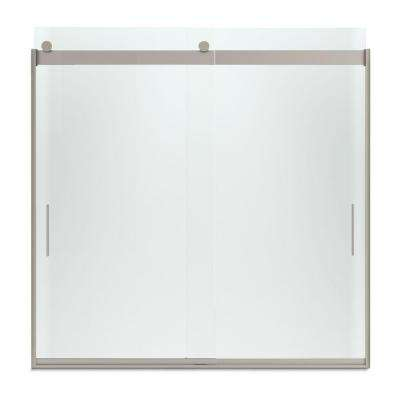 Levity 57 in. x 59.75 in. Semi-Frameless Sliding Tub Door in Nickel finish with Handle