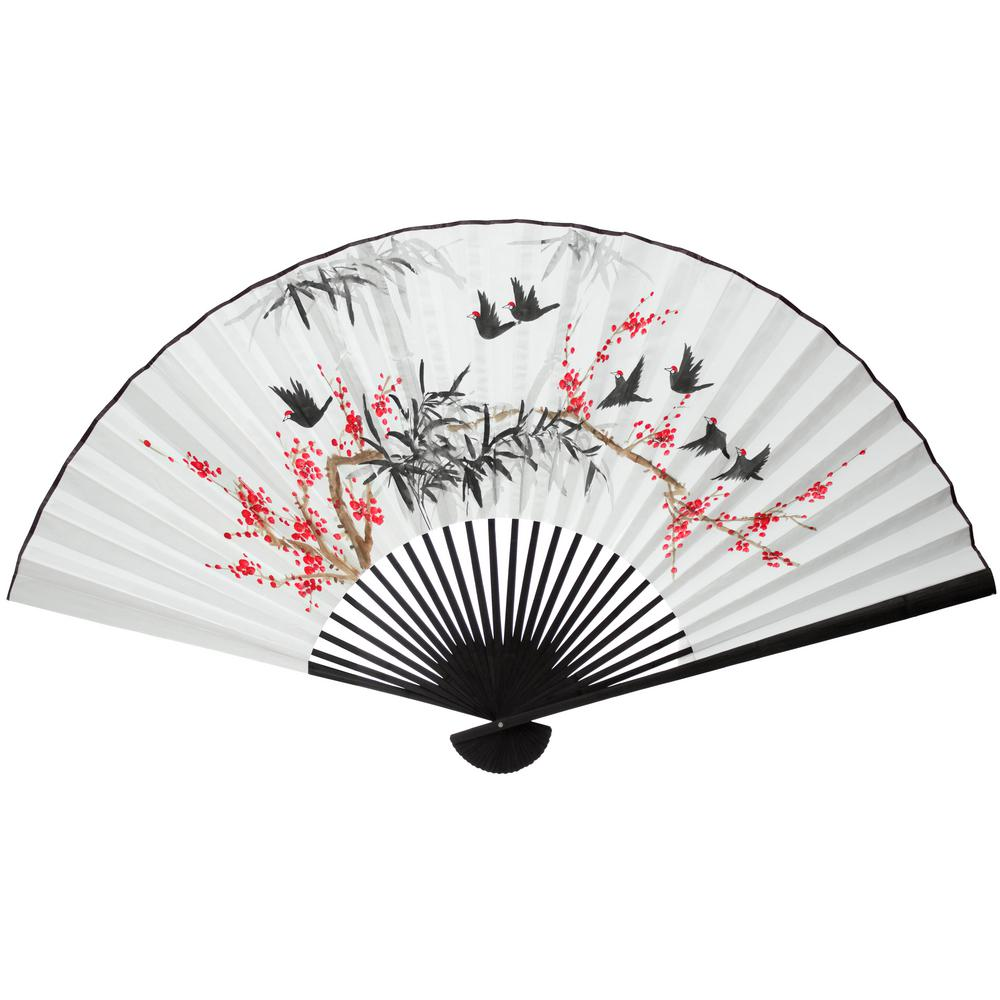"35 in. x 60 in. ""Red Flowers and Birds Fan"" Wall"
