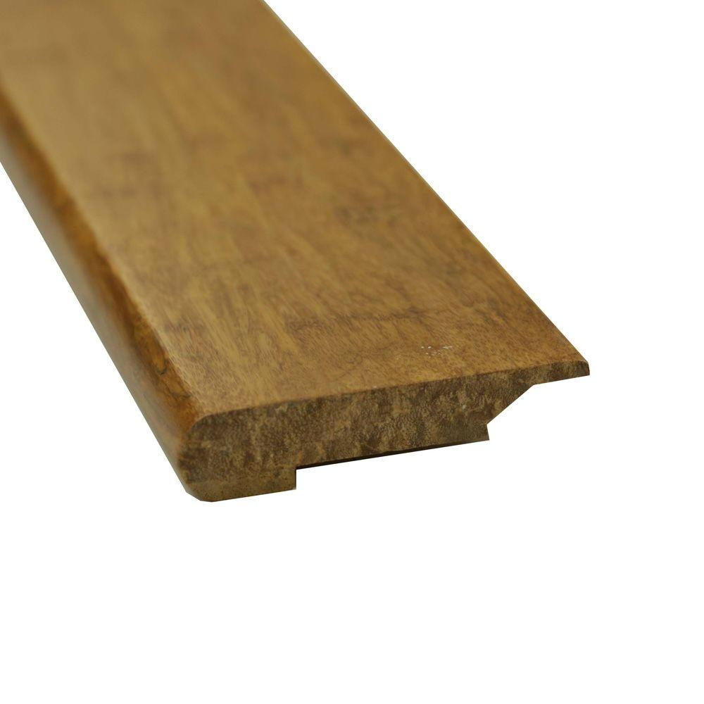Islander Carbonized 7/16 in. Thick x 3-5/8 in. Wide x 72-3/4 in. Length Strand Bamboo Overlap Stair Nose Molding