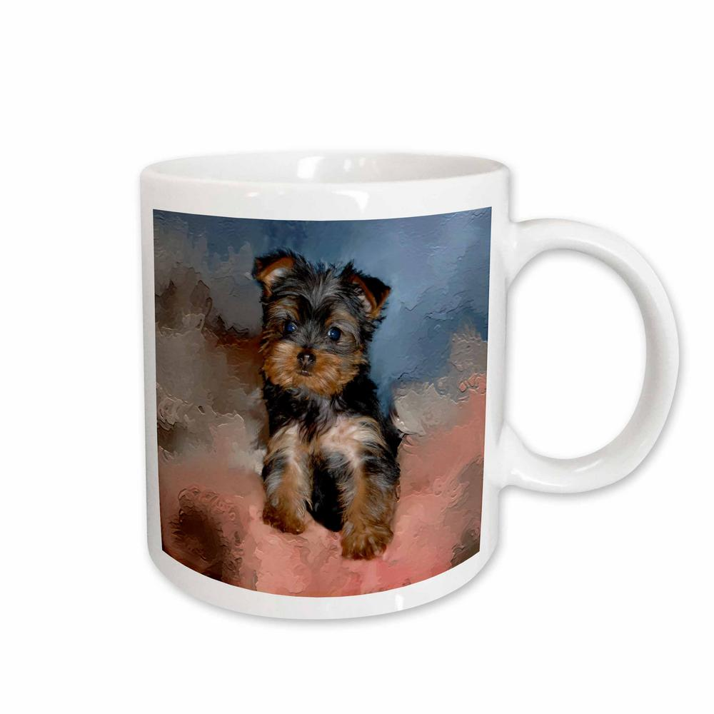 3drose Dogs 11 Oz White Ceramic Toy Yorkie Puppy Mug Mug38681