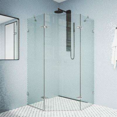 Gemini 45.625 in. x 73.375 in. Frameless Neo-Angle Hinged Corner Shower Enclosure in Chrome with Clear Glass