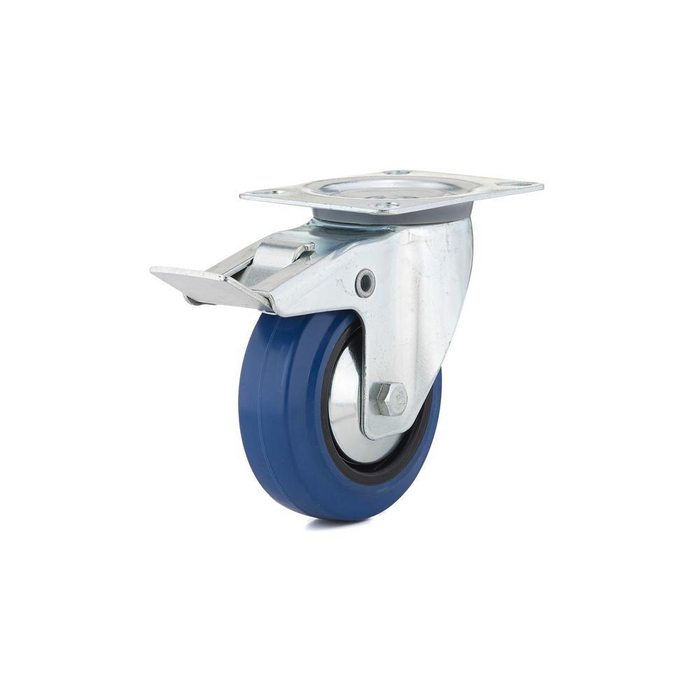 4 in. Heavy-Duty Blue Elastic Rubber Swivel Caster with Brake