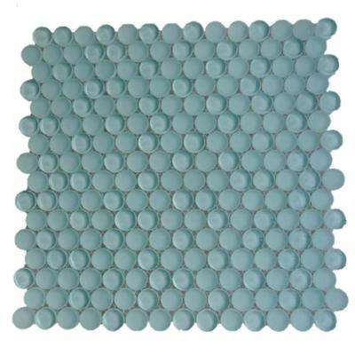 Contempo Light Green Circles 11-1/2 in. x 12 in. 8 mm Polished and Frosted Glass Mosaic Tile (0.96 sq. ft. )