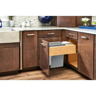 21 in. H x 15.25 in. W x 21.75 in. D Single Pull-Out Top Mount Wood and Silver Container with Rev-A-Motion Soft-Close