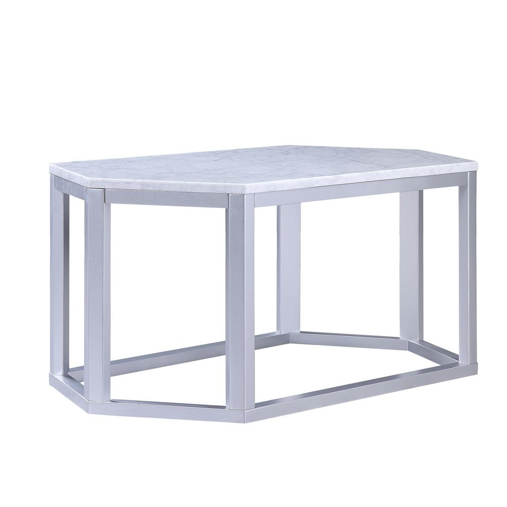 Homeroots Amelia Silver Marble Wood Coffee Table 347428 The Home