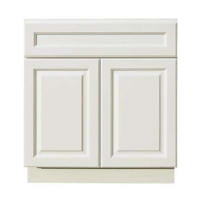 La. Newport Assembled 30x34.5x24 in. Sink Base Cabinet with 2 Door and 1 Decoration Drawer Face in Classic White