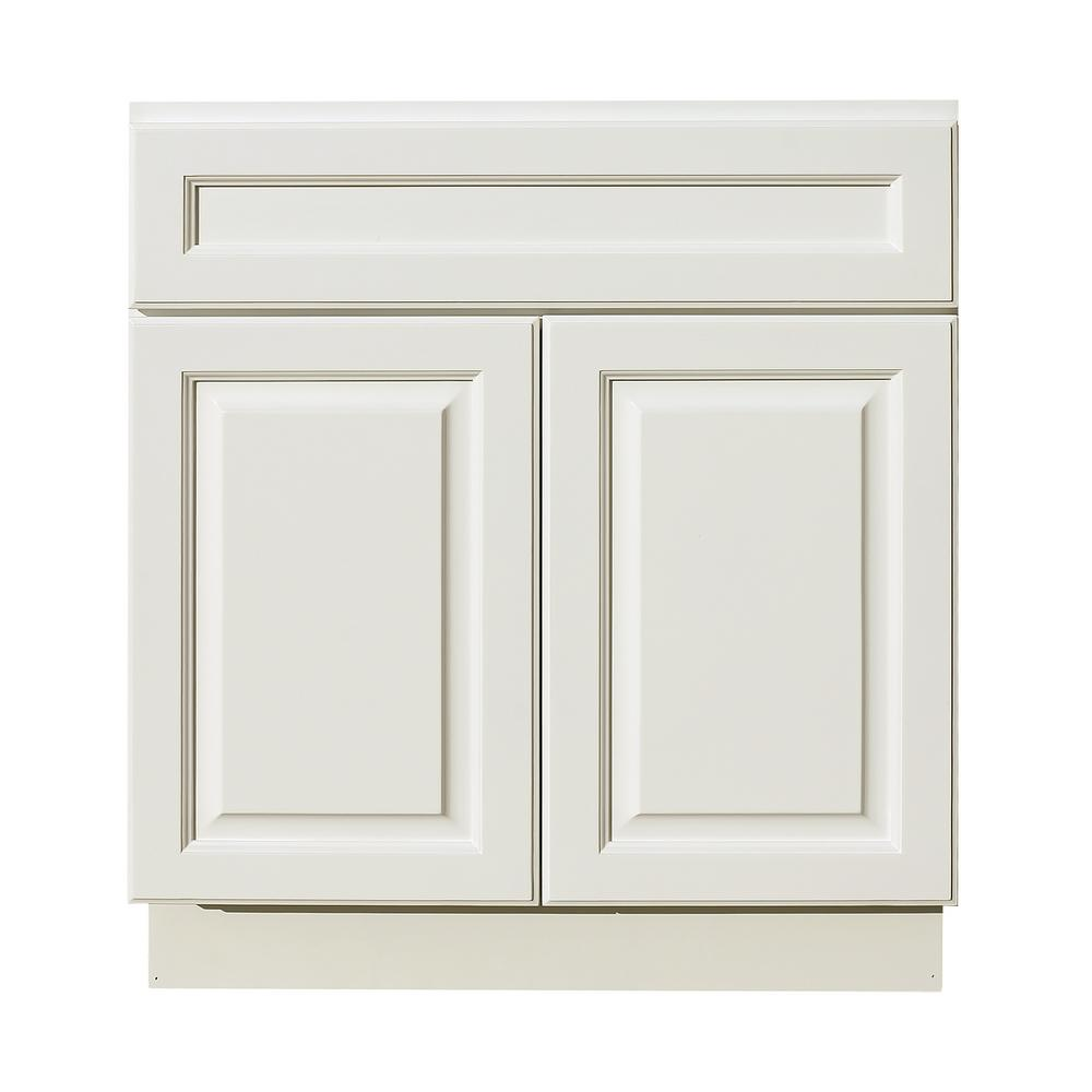Lifeart Cabinetry La Newport Assembled 42x34 5x24 In Sink Base Cabinet With 2 Door And 1 Decoration Drawer Face In Classic White