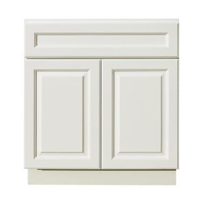 Newport Assembled 42 in. W x 21 in. D x 34.5 in. H Vanity Cabinet with 2 Doors in Classic White