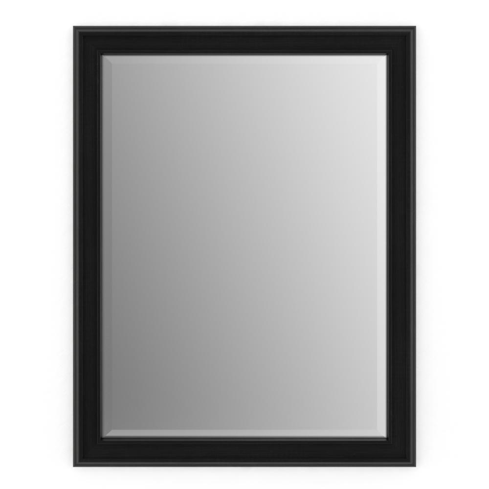 33 in. W x 47 in. H (L1) Framed Rectangular Deluxe Glass Bathroom Vanity Mirror in Matte Black