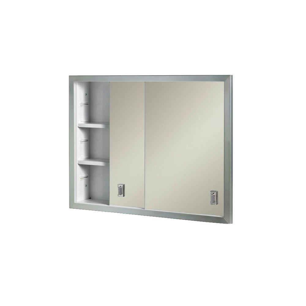 Recessed Bathroom Medicine Cabinets Contempora 24-5-8 in. W x 19-3-16 in. H x 4 in. D Framed Stainless Bi-View Recessed  Bathroom Medicine Cabinet-B703850X - The Home Depot