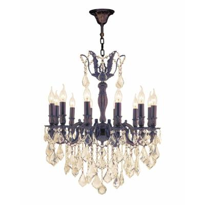 Versailles 12-Light Flemish Brass Chandelier with Golden Teak Crystal