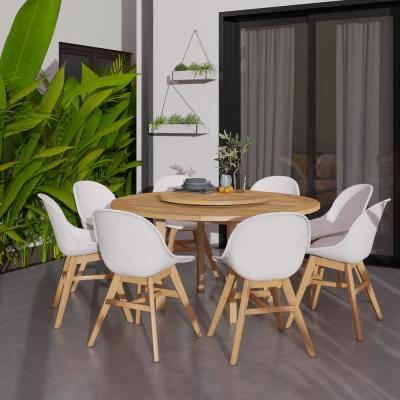 Bedford Lazy Susan 9-Piece Wood Outdoor Dining Set