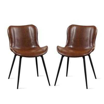 Flores Brown Faux Leather and Linen Accent Chair (2-Pack)