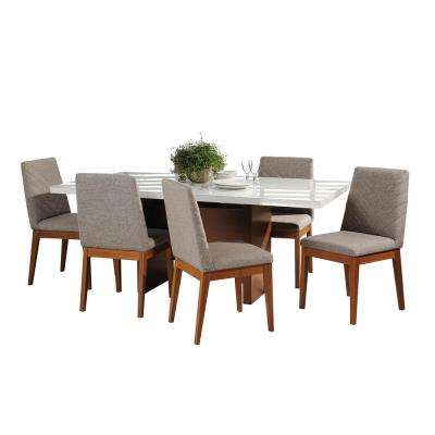 Dover 72.04 in. and Catherine 7-Piece White Gloss and Grey Dining Set