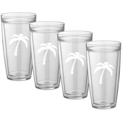 Kasualware Palm Tree 22 oz. Doublewall Tall Tumbler (Set of 4)