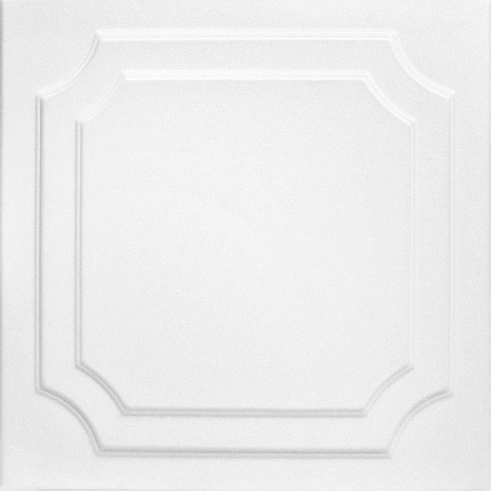 Virginian 1.6 ft. x 1.6 ft. Glue Up Foam Ceiling Tile in Plain White (21.6 sq. ft./case)