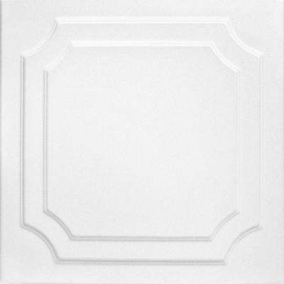 Virginian 1.6 ft. x 1.6 ft. Foam Glue-up Ceiling Tile in Plain White (21.6 sq. ft. / case)